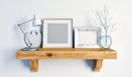 3d illustration, still life on a shelf.  loft style.frame mock up Stock Photo