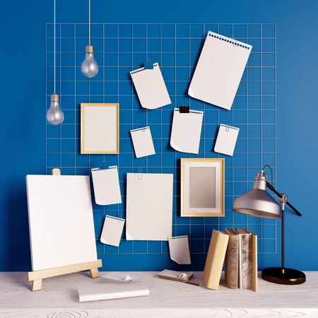 home furniture: 3d illustration, workplace.  loft style.frame mock up Stock Photo