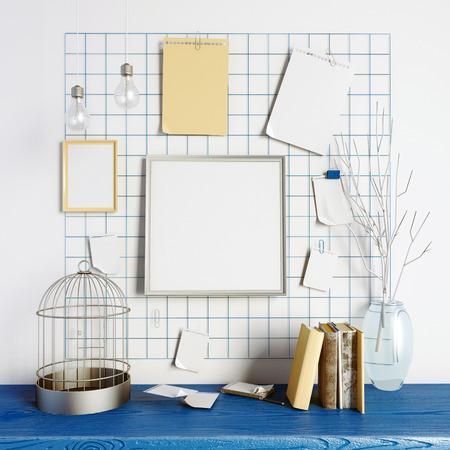 ledge: 3d illustration, workplace.  loft style.frame mock up Stock Photo