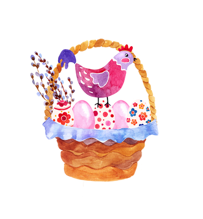 orthodoxy: watercolor basket of Easter eggs