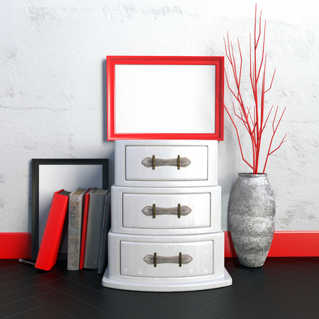 chest wall: interior hipster. installation with chest and frame. frame mock up. 3d illustration.