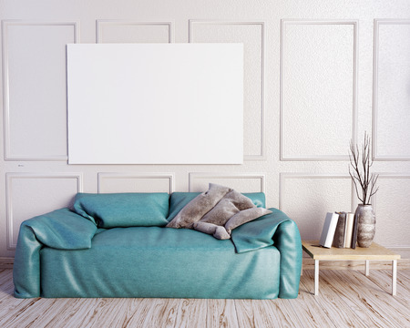 flooring: 3d illustration, interior with  leather sofa. posterl mock up