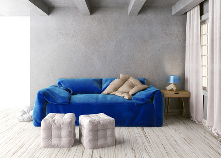 flooring: Mock up wall in interior with  sofa. living room hipster style. 3d illustration