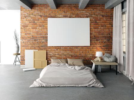 flooring: Mock up poster in bedroom interior. Bedroom hipster style. 3d illustration