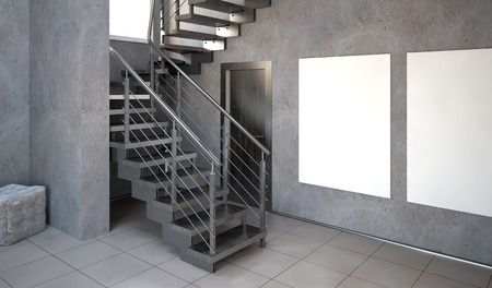 staircases: Mock up poster in interior with stairs. living room hipster style. 3d illustration