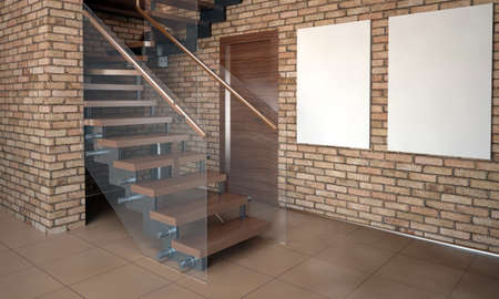 Mock up wall in interior with stairs. Living room hipster style. 3d illustration