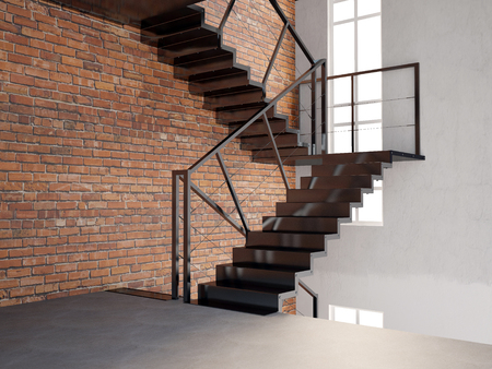 staircases: Mock up wall in interior with stairs. living room hipster style. 3d illustration