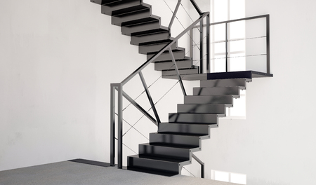 living room wall: Mock up wall in interior with stairs. living room hipster style. 3d illustration