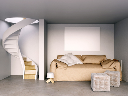 staircases: Mock up wall in interior with stairs and sofa. living room hipster style. 3d illustration