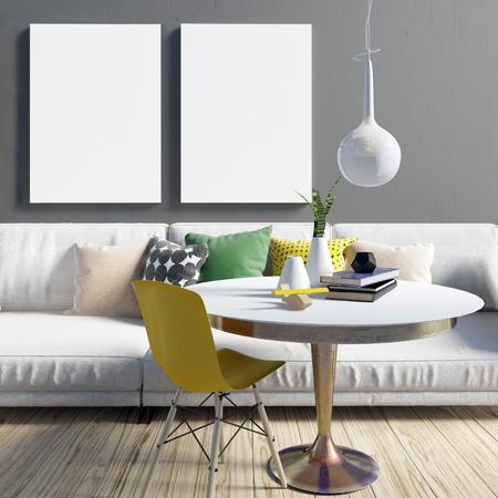 Acogedor interior moderno salón en colores contrastantes. Área de relajación. Maqueta del cartel Ilustración 3d