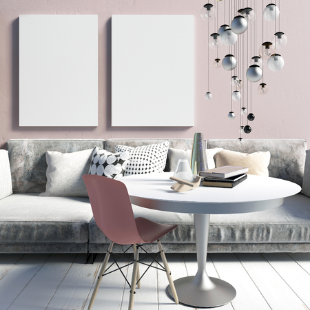 Cozy modern interior living room in a dirty pink. A relaxation area. Poster mockup. 3d illustration Banco de Imagens
