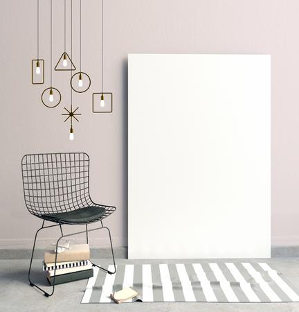 3 d イラスト、フレーム、ポスターと椅子モダンなインテリア。ポスターのモックアップ