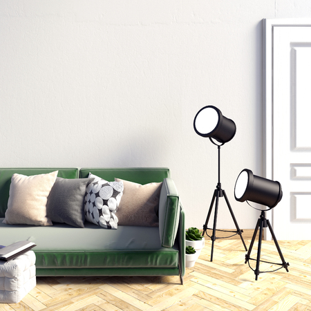 Mock up wall in interior with  sofa. living room. resting place. modern style. 3d illustration
