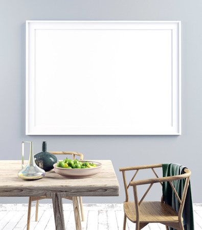 modern living room: Mock up poster in interior with dining area. living room modern style. 3d illustration