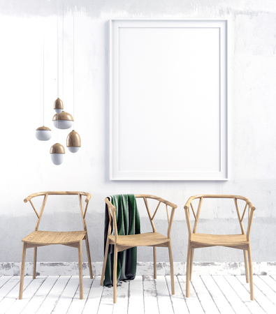 domestic: 3d illustration, modern interior with  poster and chair. poster mock up Stock Photo