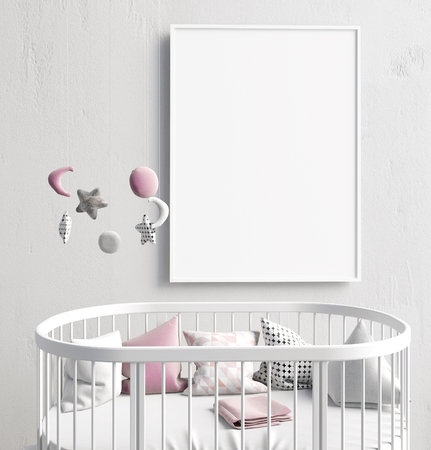Mock up poster in interior of the child. sleeping place. modern style. 3d illustration Banco de Imagens - 84790861