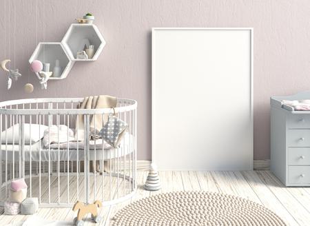 子どものインテリア ポスターをモックアップします。睡眠の場所。モダンなスタイル。3 d イラストレーション