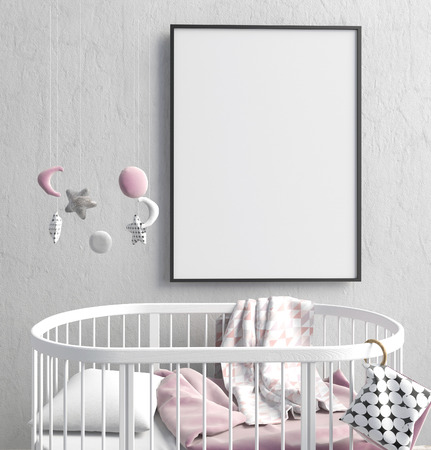 Mock up poster in interior of the child. sleeping place. modern style. 3d illustration Reklamní fotografie