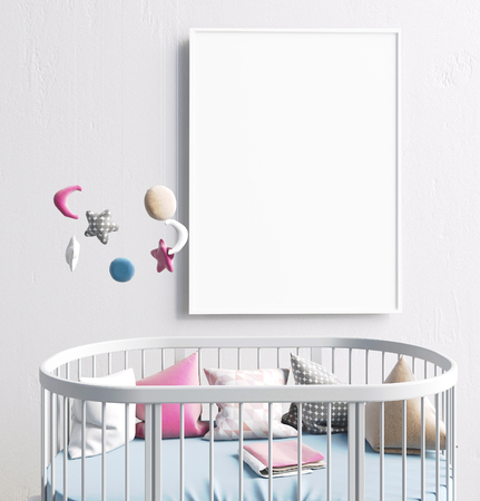 Mock up poster in interior of the child. sleeping place. modern style. 3d illustration Banco de Imagens