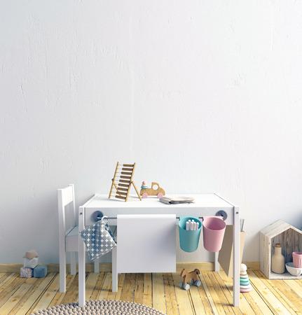 Mock-up muur in het interieur van het kind. speelkamer. moderne stijl. 3d illustratie