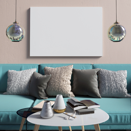 characteristic: Mock up poster in interior with coffee table and sofa. living room. resting place. modern style. 3d illustration Stock Photo