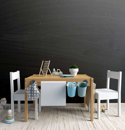 Mock up blackboard in interior of the child. Playroom. Modern style. 3d illustration