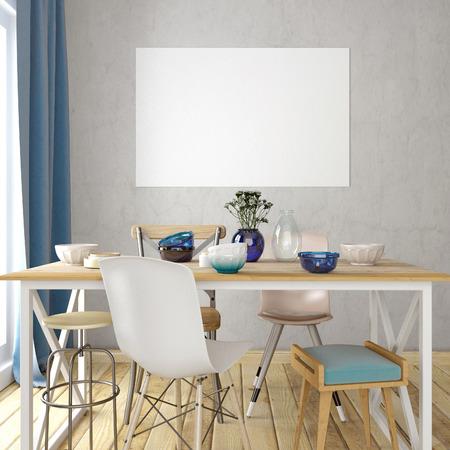 Mock up cartel en el interior con comedor. sala de estilo moderno. 3d ilustración