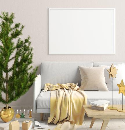 living room sofa: Modern Christmas interior of Scandinavian style. 3D illustration. poster mock up
