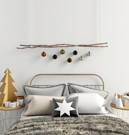 Modern Christmas interior of bedroom, Scandinavian style. 3D illustration. poster mock up