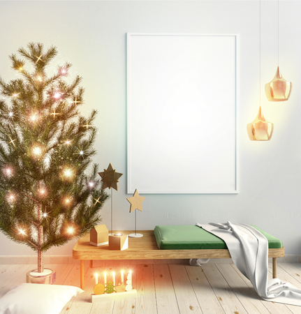 illustration modern christmas interior of scandinavian style with shining lights christmas tree 3d illustration poster mock up
