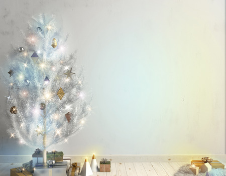 illustration modern christmas interior of scandinavian style with shining lights christmas tree 3d illustration wall mock up