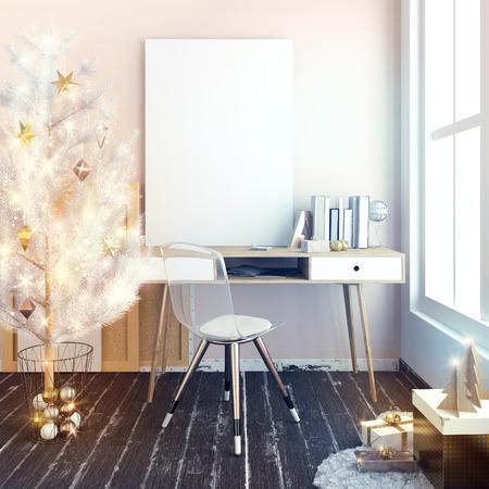 Modern Kerstmis licht binnenland, een plaats voor studie met glanzende lichtenkerstboom. 3D illustratie. poster mock up