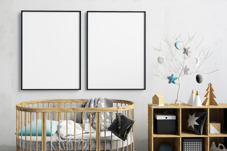 Modern Christmas interior of the childroom. sleeping place. 3d illustration. Mock up poster Stock Photo