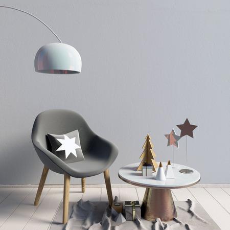 Modern Christmas interior, Scandinavian style. 3D illustration. wall mock up Stock Photo