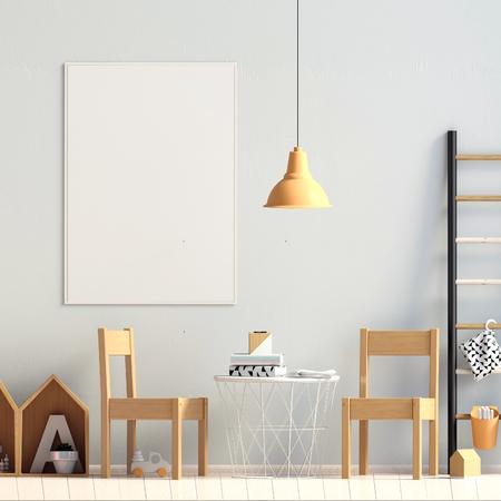 Pastel childs room. playroom. modern style. 3d illustration. Poster mock up