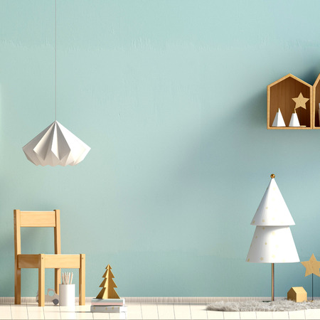 Pastel Christmas child's room. playroom. modern style. 3d illustration. Mock up wall