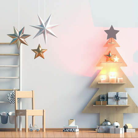 Pastel Christmas childs room. playroom. modern style. 3d illustration. Mock up wall Stock Photo