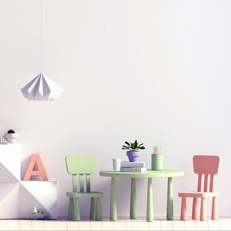 Pastel childs room. playroom. modern style. 3d illustration. Mock up wall