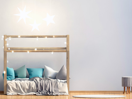 Bespot de muur in het interieur van de kinderkamer. slaapplaats. moderne stijl. 3D illustratie Stockfoto - 91233726