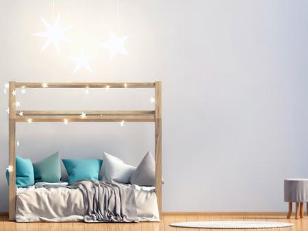 Maquette de mur à l'intérieur de la salle des enfants. lieu de sommeil. style moderne. Illustration 3D Banque d'images - 91233726