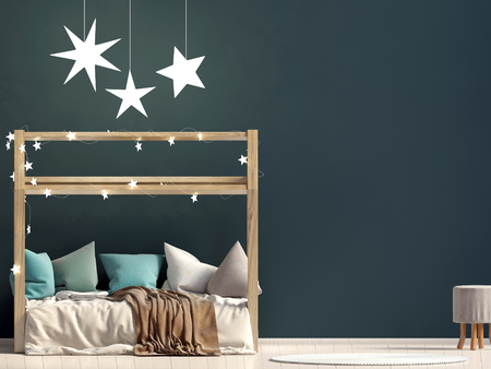 Mock up wall in interior of the childroom. sleeping place. modern style. 3d illustration