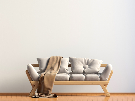 Modern interior with sofa. Wall mock up. 3d illustration.