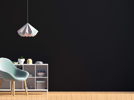 Modern interior with chair. Wall mock up. 3d illustration.