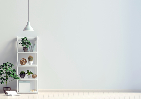 Modern interior with shalf, plant and lamp. Wall mock up. 3d illustration