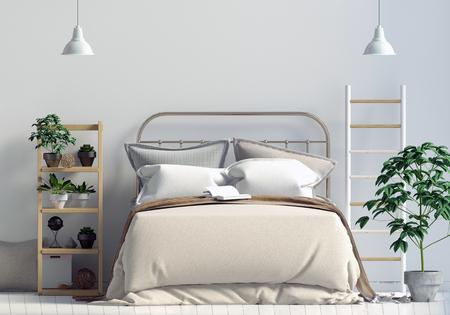 Mock up wall in bedroom interior. Bedroom Scandinavian style. 3d illustration