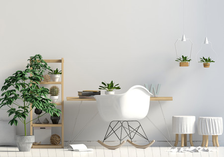 Modern contrast interior in the style scandinavian, a place for study. 3D illustration. Wall mock up
