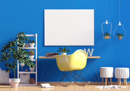 Modern contrast interior in the style scandinavian, a place for study. 3D illustration. poster mock up Stock Photo