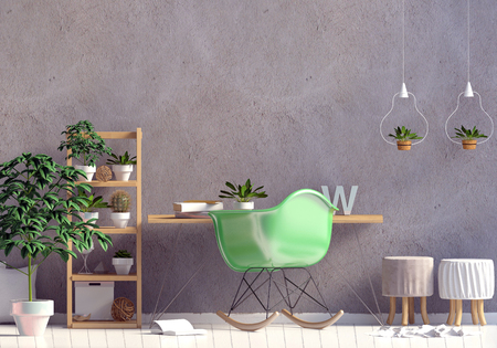 Modern interior in the style scandinavian, a place for study. 3D illustration. Wall mock up Stock Photo