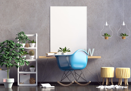 Modern  interior in the style scandinavian, a place for study. 3D illustration. poster mock up