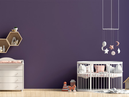 Interior of the childroom. sleeping place. 3d illustration. Mock up wall Reklamní fotografie